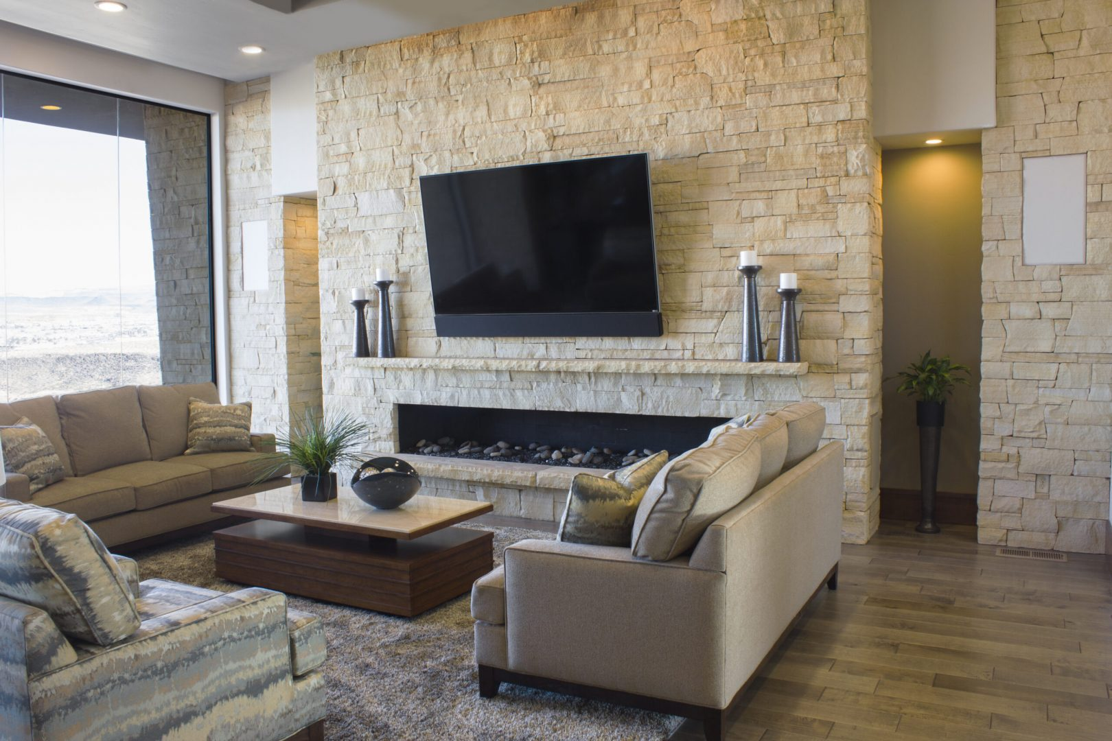 TV installation and surround sound system in luxury home