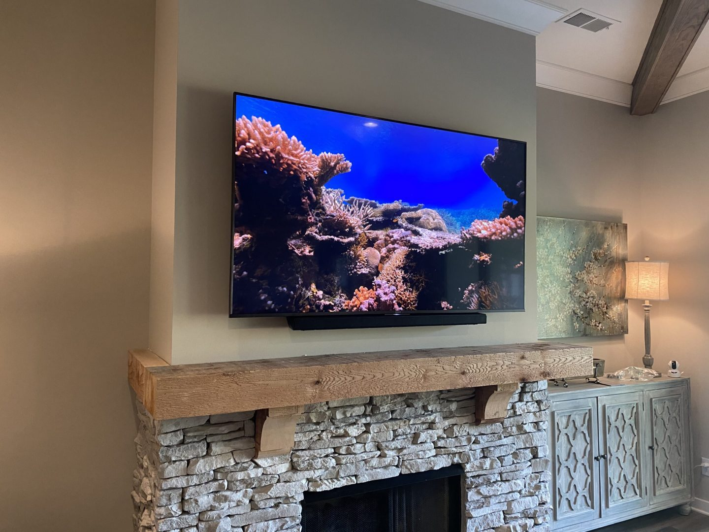 TV install with Surround Sound system for luxury living